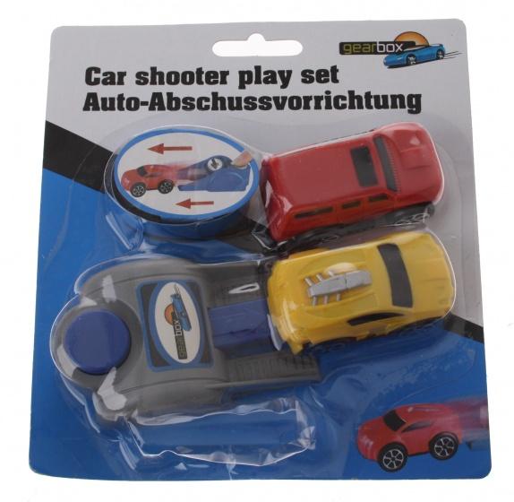 Gearbox Autoschiet speelset jongens 6 cm rood/geel