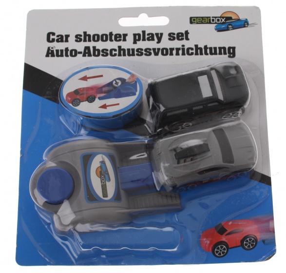 Gearbox Autoschiet speelset jongens 6 cm zwart/grijs