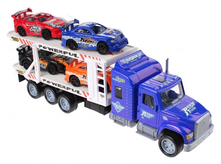 Gearbox autotransporter blauw 34 cm 5 delig