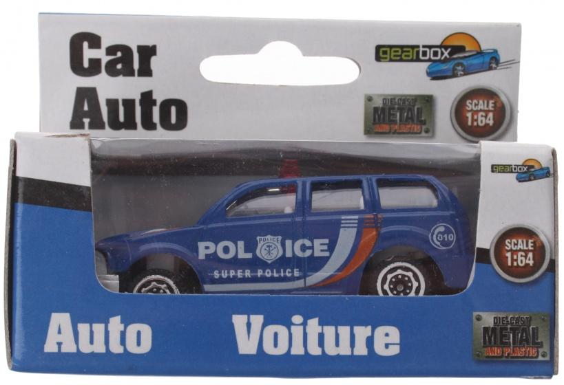 Gearbox politieauto blauw staal 8 cm