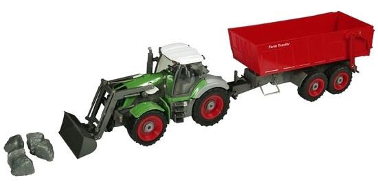 Gearbox RC tractor met aanhanger groen/rood 53 cm