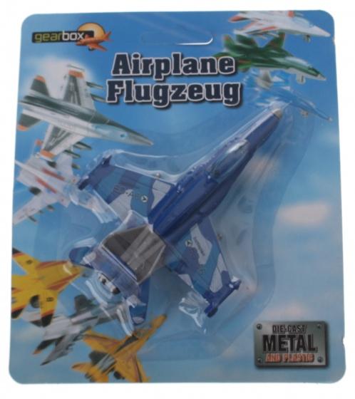 Gearbox straaljager die cast metal jongens 11 x 9 cm blauw