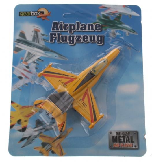Gearbox straaljager die cast metal jongens 11 x 9 cm geel