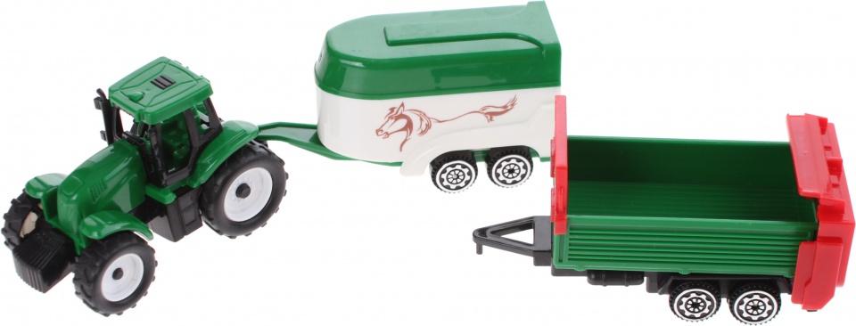 Gearbox tractor met aanhanger en paardentrailer wit/groen