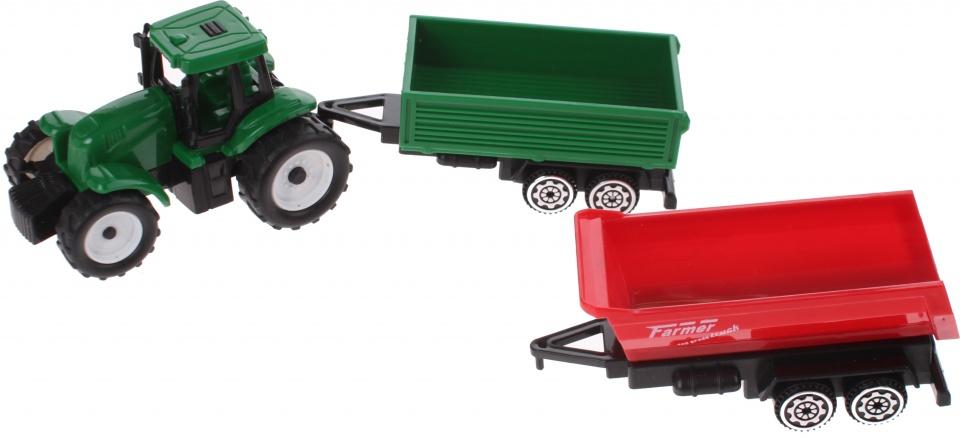 Gearbox tractor met aanhangers groen/rood