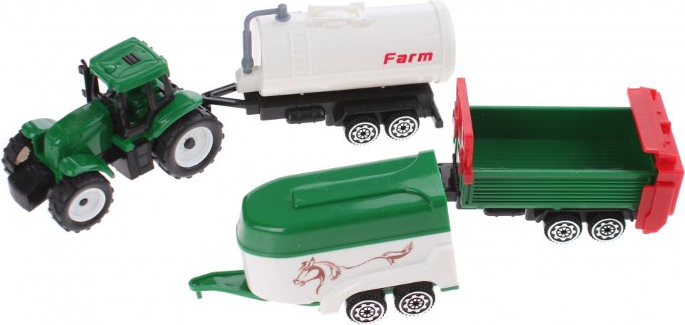 Gearbox tractor met aanhangers groen/wit 4 delig