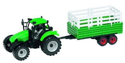 Gearbox Tractor met hooioplegger groen/bruin 39 x 13 x 11.5 cm