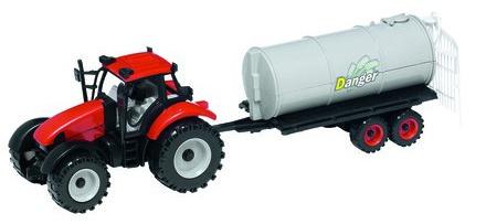 Gearbox Tractor met mestoplegger rood/grijs 39 x 13 x 12 cm