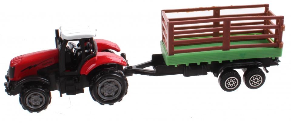 Gearbox tractor met trailer 7 cm rood