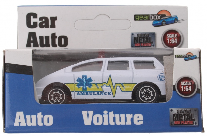 Gearbox voertuig ambulance wit/geel staal 8 cm