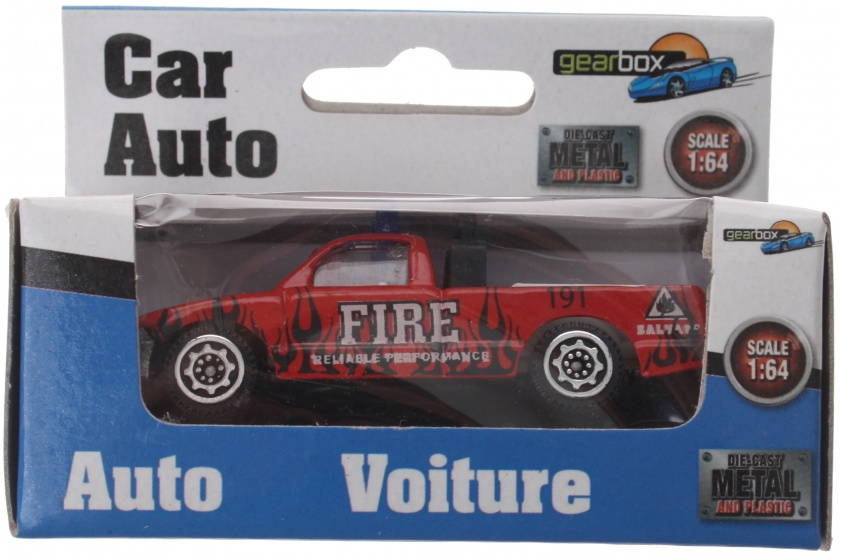 Gearbox voertuig brandweer pick up rood staal 8 cm