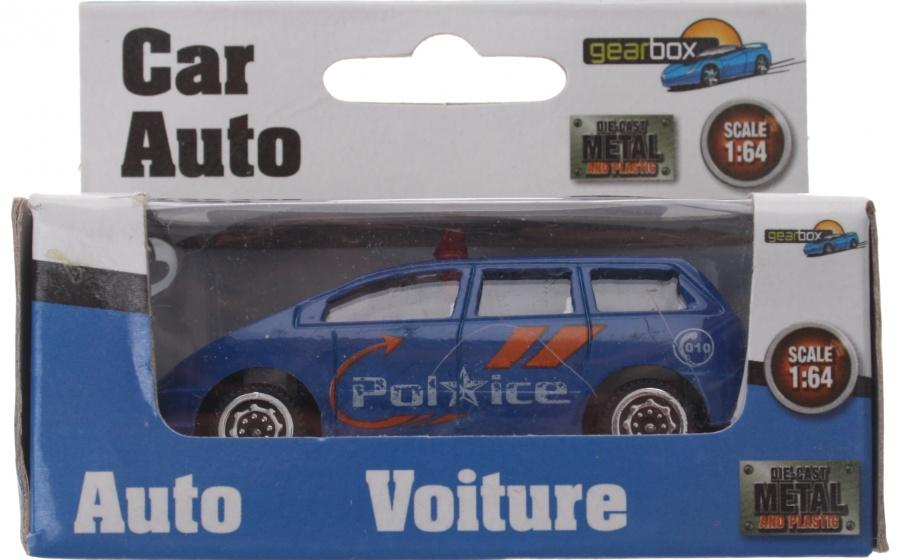 Gearbox voertuig politieauto blauw staal 8 cm