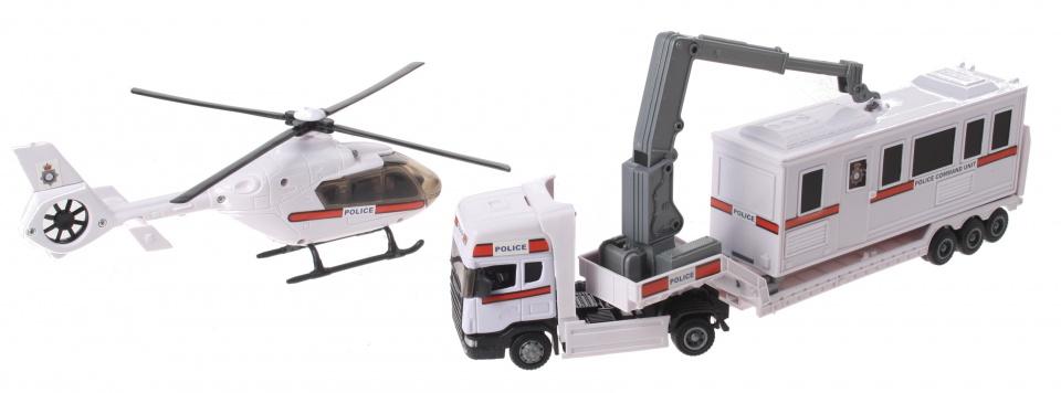 Gearbox Vrachtwagen en Helikopter Rescue Wit 1:48