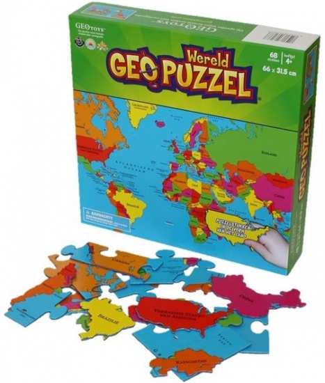 Geotoys Puzzel Wereld 48,3 x 40,6 cm 68 stukjes