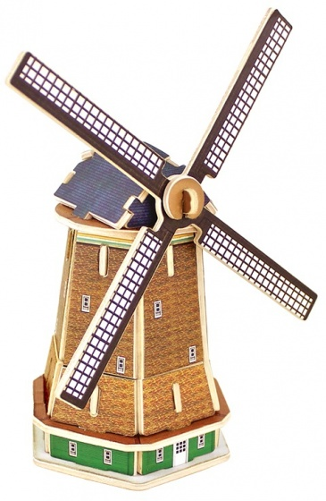 Gerardo's Toys 3D puzzel Molen hout 12 cm 36 delig
