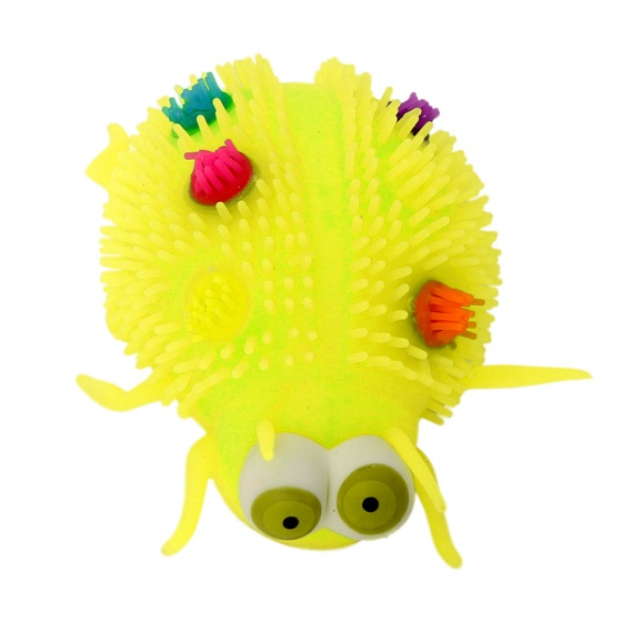 Gerardo's Toys fluffy insect 12 cm geel