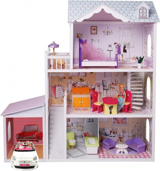 Gerardo's Toys houten poppenhuis met garage Charlene 123,5 cm 14 delig