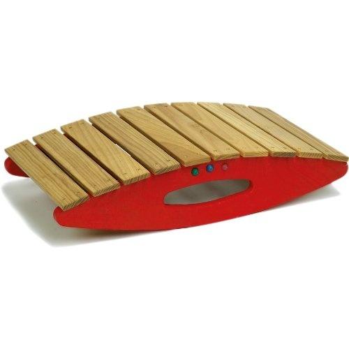 Gl�cksk�fer balanceerplank rood/bruin hout junior 60 x 33 cm