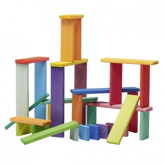 Gl�cksk�fer houten bouwplankjes 27 cm multicolor 32 delig