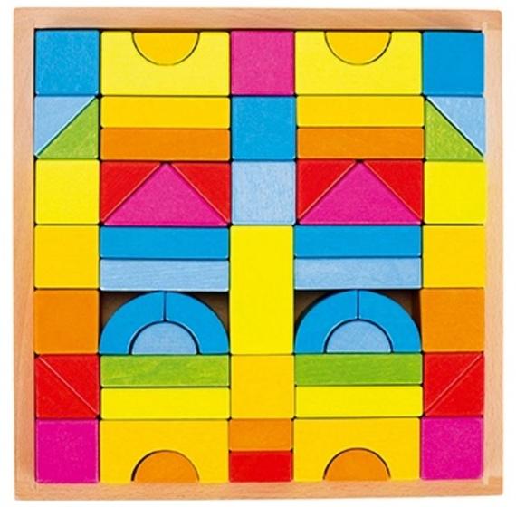 Goki blokkendoos regenboog 23,5 x 23,5 cm 58 delig