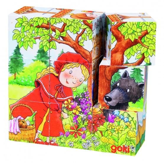 Goki blokkenpuzzel Sprookjes junior hout 9 delig