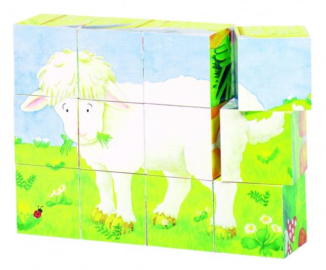 Goki Houten Blokpuzzel Babydieren 12 Blokken