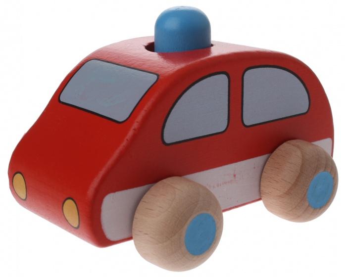 Goki houten brandweerauto rood 9,5 x 6 x 7 cm