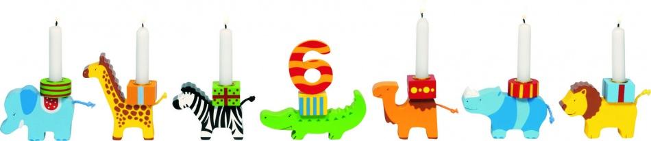 Goki Houten Kaarsenhouder Verjaardag: Dierenparade