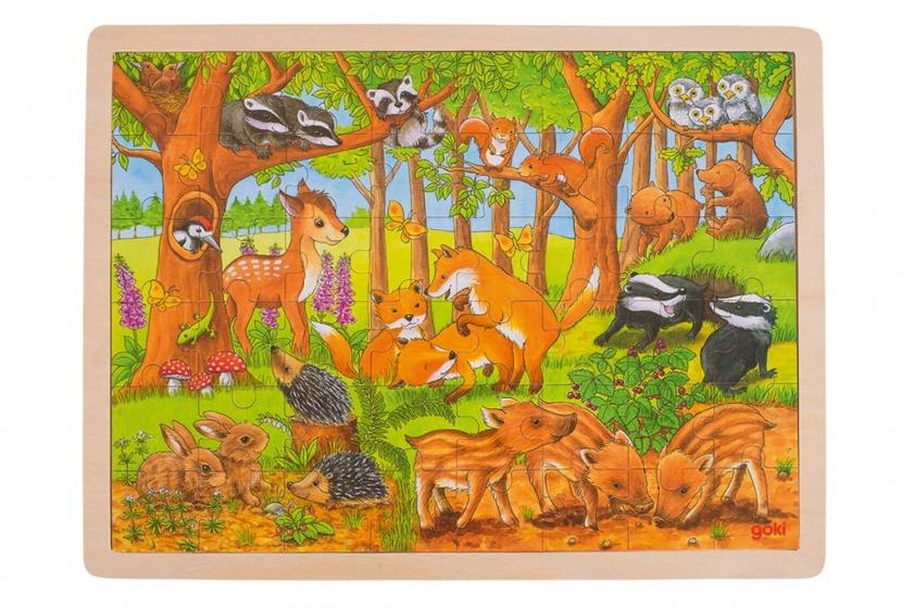 Goki houten legpuzzel bosdieren 48 delig