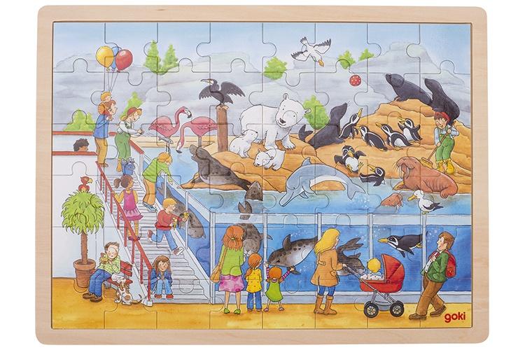 Goki houten legpuzzel dierentuin 48 delig