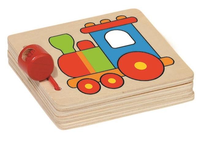 Goki Houten Mini Boekje: Trein