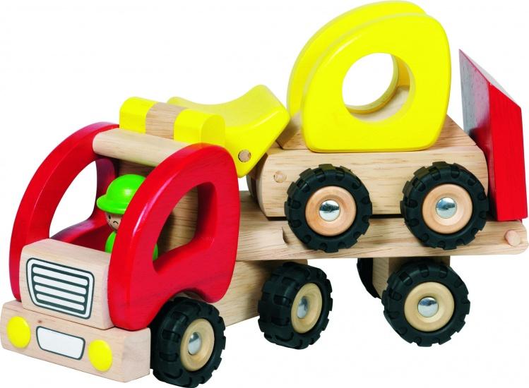 Goki Houten Oplegger Met Bulldozer 34 X 8,5 X 12,5 cm