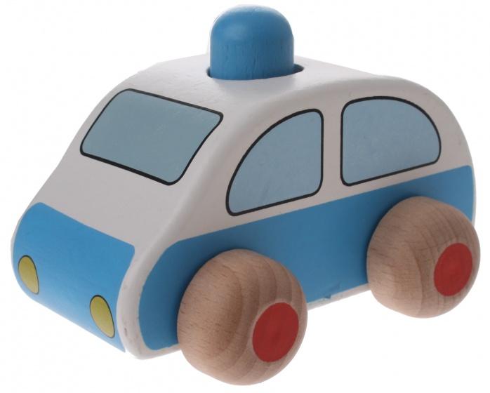 Goki houten politieauto wit 9,5 x 6 x 7 cm