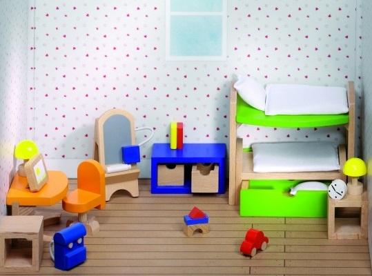 Goki Houten Poppenhuis Kinderkamer 28 Delig