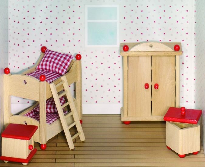 Goki Houten Poppenhuis Kinderkamer 5 Delig