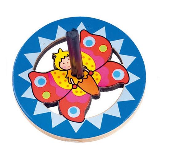 Goki Houten Tol: Vlinder 6 cm