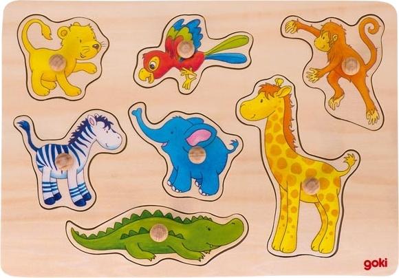 Goki houten vormenpuzzel Safari 30 x 21 cm 8 stukjes