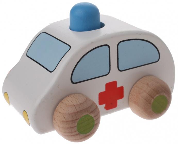 Goki houten ziekenwagen wit 9,5 x 6 x 7 cm