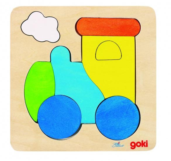 Goki Inlegpuzzel Locomotief 6 Delig