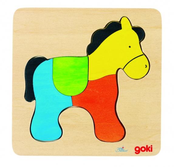 Goki Inlegpuzzel Paard 4 Delig