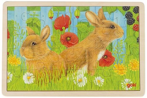 Goki Legpuzzel hout konijnen 24 delig