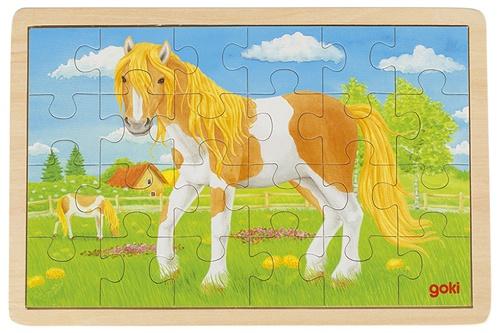 Goki Legpuzzel hout paardenwei 24 delig
