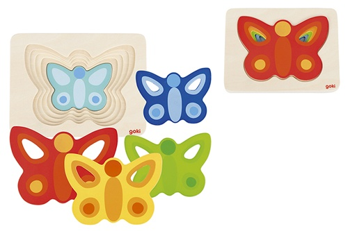 Goki Legpuzzel hout vlinders 5 delig