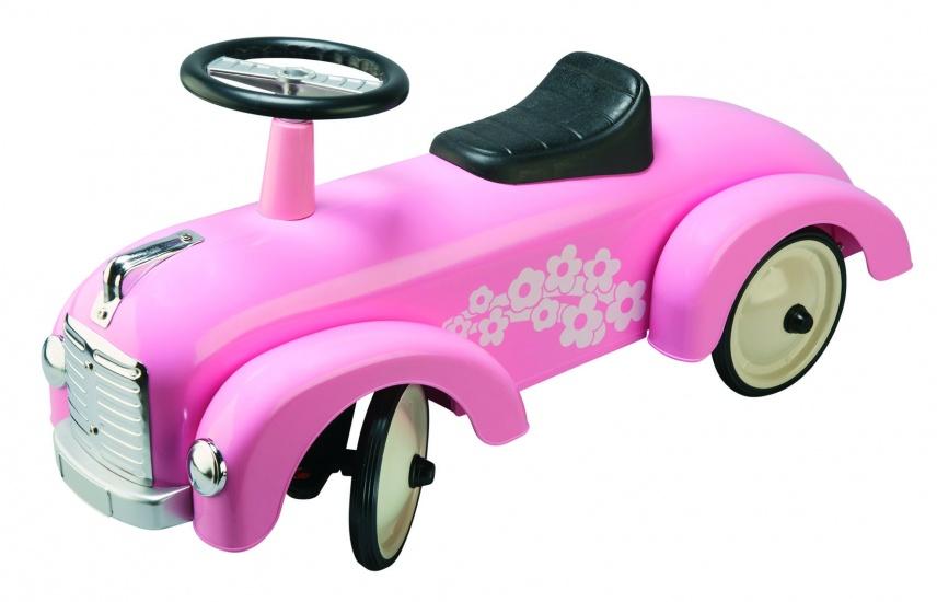 Goki Loopauto Bloemen Roze
