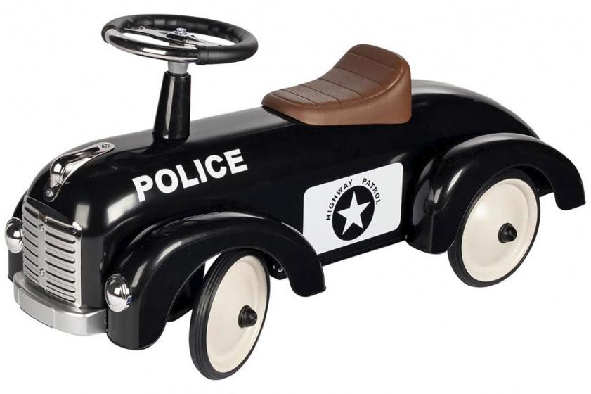 Goki loopauto Politie jongens 75 cm staal zwart