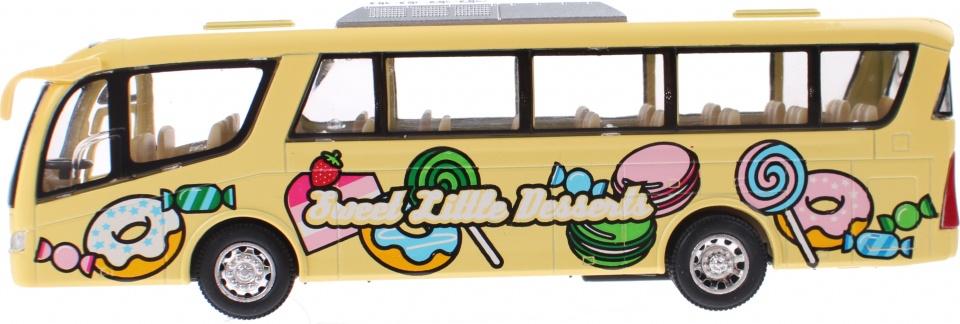 Goki metalen bus miniatuur geel 18 cm