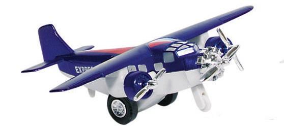 Goki Metalen Vliegtuig 14 cm Blauw