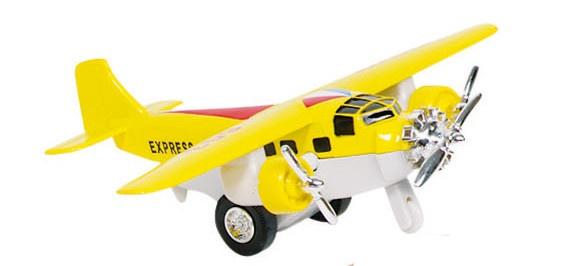 Goki Metalen Vliegtuig 14 cm Geel