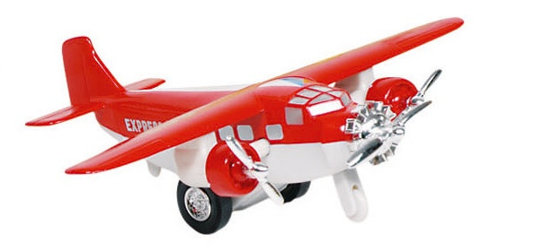 Goki Metalen Vliegtuig 14 cm Rood