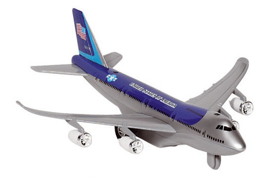 Goki Metalen Vliegtuig Met Geluid en Licht 18,5 cm Blauw